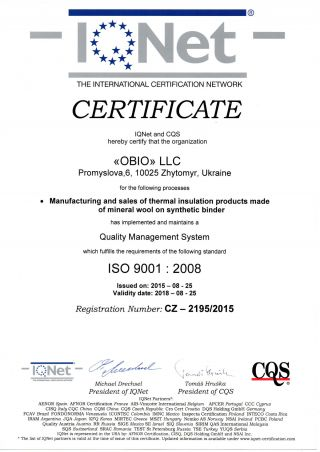 IQNET 9001 quality management system
